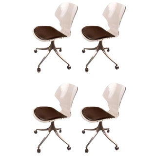 Set of Four Hill Lucite Rolling Chairs For Sale