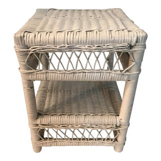 White Wicker Stool or Stand