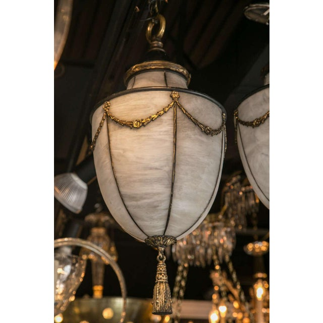 Empire 1900s Caldwell Leaded Glass Lanterns - a Pair For Sale - Image 3 of 9