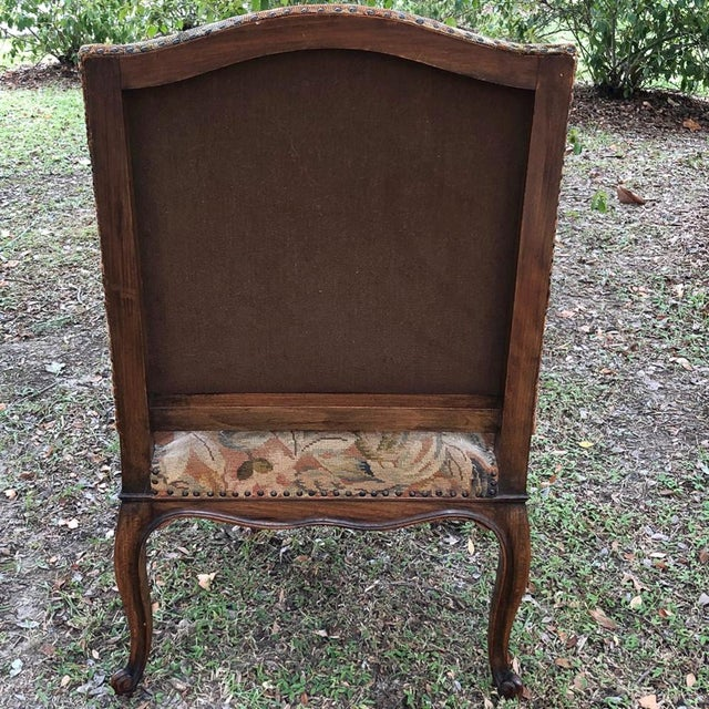 19th Century French Louis XV Tapestry Armchair For Sale - Image 12 of 13