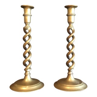 1940's English Heavy Brass Spiraled Candlesticks - a Pair For Sale