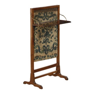 Antique 19c English Mahogany & Fruitwood Aubusson Adjustable Fire Screen For Sale