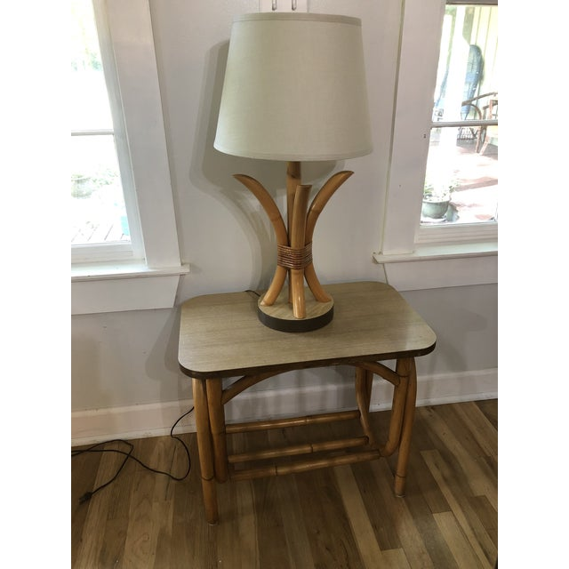Tan 1970s Boho Chic Rattan Side Table With Laminate Top For Sale - Image 8 of 9
