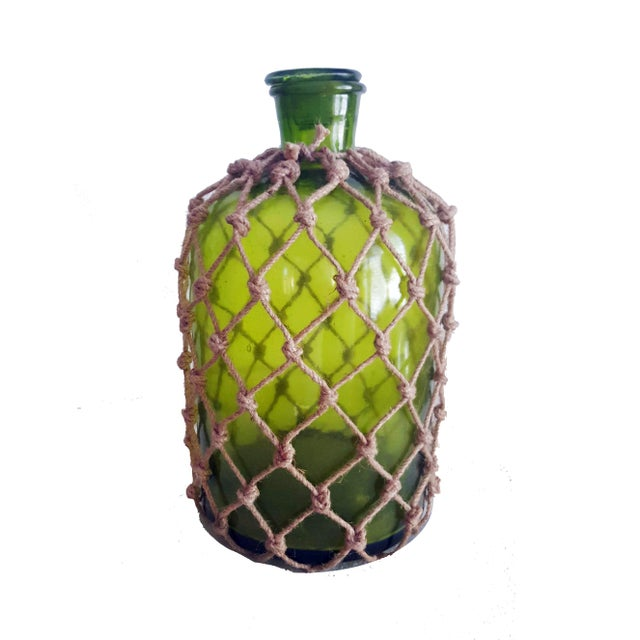 Country 1960s Italian Ballard Cane and Jute Wrapped Demijohn Wine Cooler Decanter - Set of 3 For Sale - Image 3 of 13