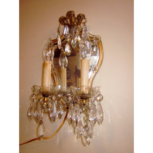 1920s French Louis XV Style Gilt Mirror and Glass Framed Sconces - a Pair For Sale - Image 12 of 13
