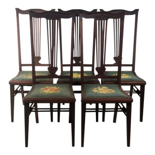 Century High Back Mahogany Chairs - Set of 5 For Sale