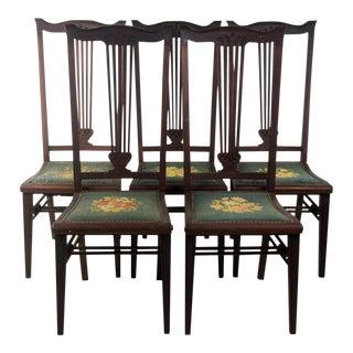 Century High Back Mahogany Chairs - Set of 5
