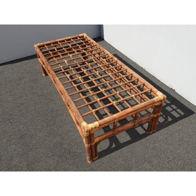 Vintage Mid Century Brown Bamboo Rattan Rustic Coffee Table For Sale In Los Angeles - Image 6 of 11
