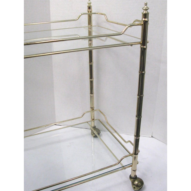 Mid-Century Faux Bamboo Original Glass Bar Cart For Sale In West Palm - Image 6 of 9