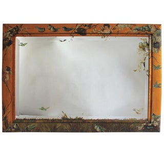 19th Century Monumental Original Hand-Painted Bird's-Eye Maple Mirror For Sale