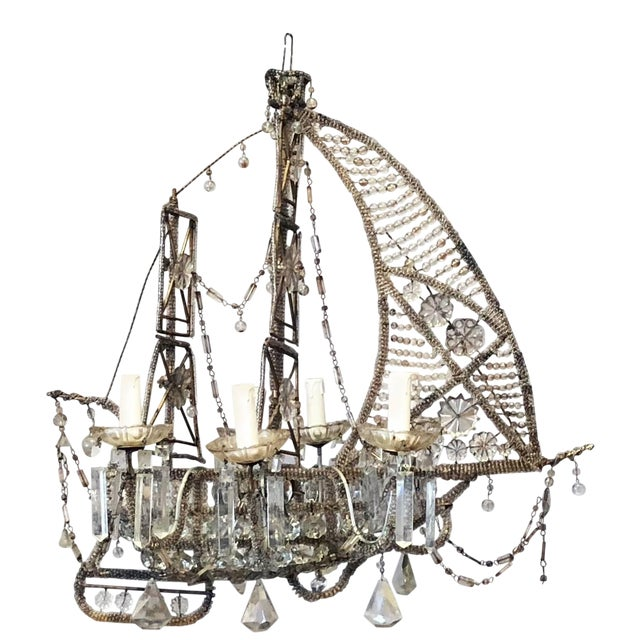 20th Century Crystal Beaded Ship Chandelier by Maison Baguès For Sale