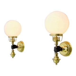 Pair of Solid Brass and Glass Wall Lights by Vereinigte Werkstaette Munich 1970s For Sale