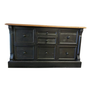 Traditional File Drawer Credenza With Distressed Finish