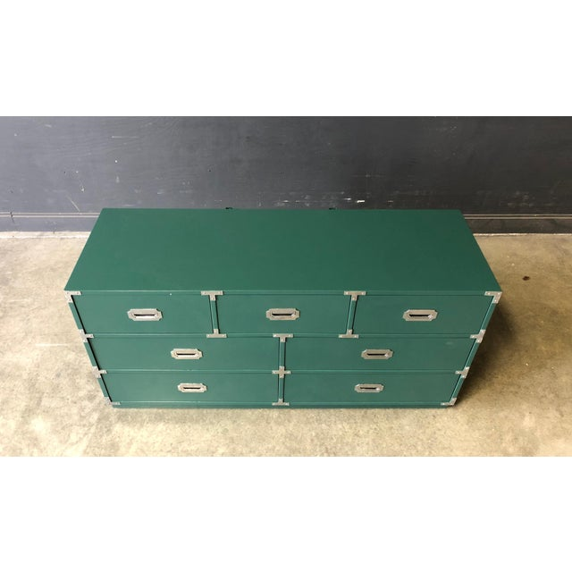 Campaign Green Lacquered 7 Drawer Campaign Style Chest/Dresser For Sale - Image 3 of 6