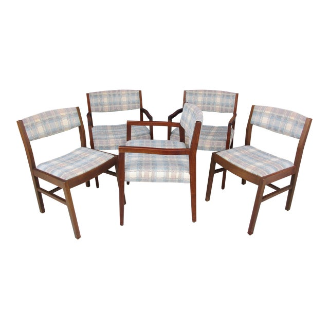 Risom Marble Armchairs and Side Chairs -Set of Five For Sale