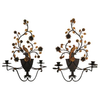 Pair of Tole Bird Sconces For Sale