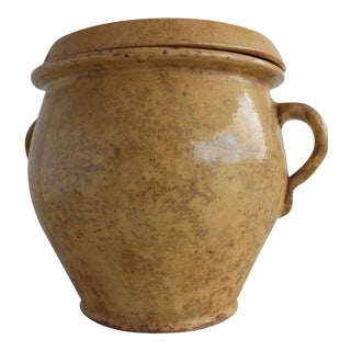 19th Century French Confit & Lid Jar For Sale