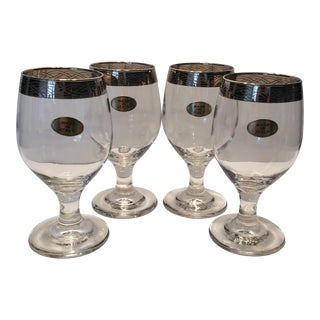 Mid-Century Italian Crystal Wine Glasses - Set of 4