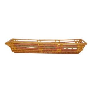 Vintage Tribal Loose Woven Trinket Basket For Sale
