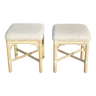 1980s Vintage McGuire Furniture Co. White Wash Bamboo Stools- A Pair For Sale