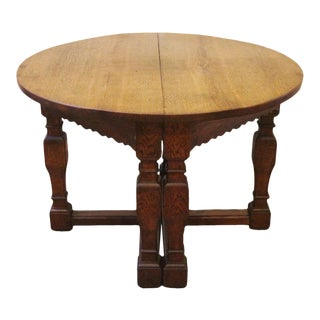 19th Century Country Oak Demi Lune Console Tables - a Pair For Sale