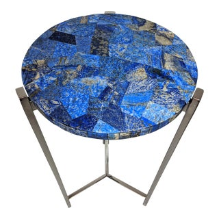 Organic Modern Lapis and Chrome Side Table For Sale