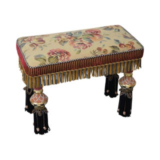 Porcelain & Upholstered Bench For Sale