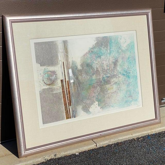 "Abstract Robert Alan DeVoe ""Striding Moon"" Monoprint C.1987 For Sale - Image 3 of 12"