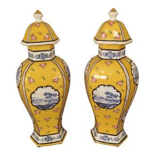 Newport Mansions Jeanne Reeds Delft Porcelain Urns - a Pair For Sale