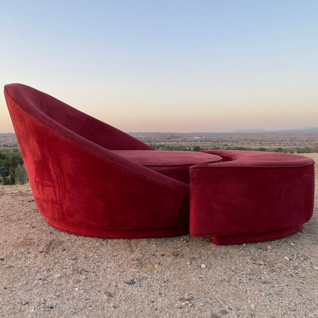 """Attributed Milo Baughman """"Satellite"""" large lounge chair can seat two people comfortably. All original fabric. No tears or..."""
