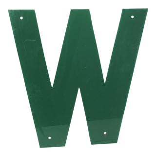 "Salvaged 1970s Emerald Green Marquee Letter ""W"""