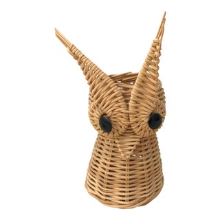 Vintage Wicker Owl Pencil Holder For Sale