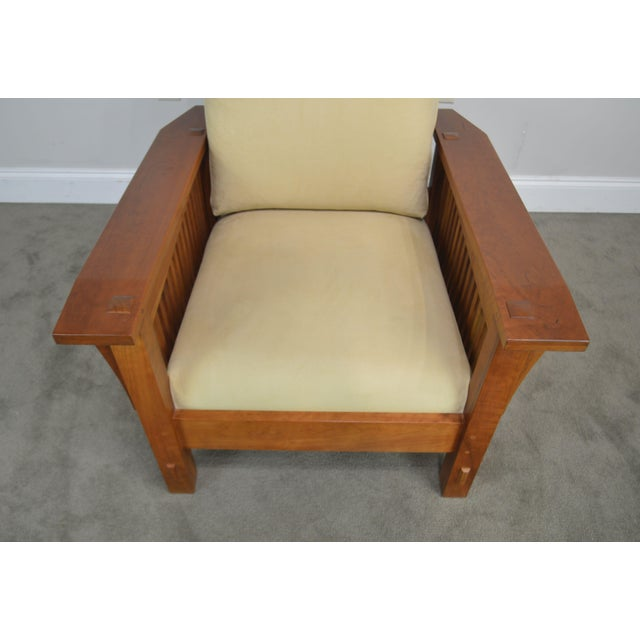 Stickley Mission Collection Cherry Bustle Back Spindle Morris Chair W/ Ottoman For Sale - Image 11 of 13
