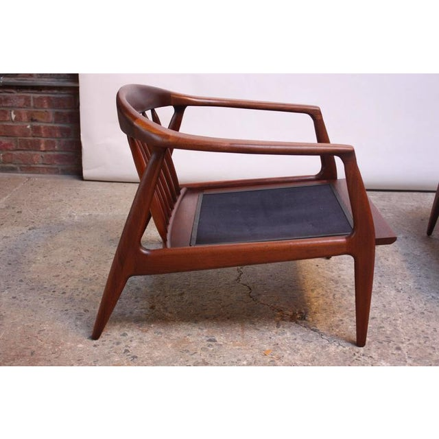 Pair of Staved Walnut Lounge Chairs by Milo Baughman - Image 7 of 11