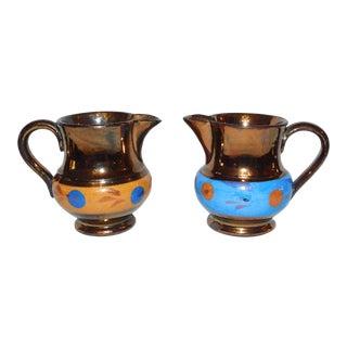 Copper Lustre Creamers - a Set For Sale