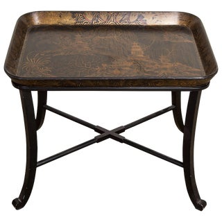 19th Century Regency Black and Gilt Papier Mache Lacquer Tray Table For Sale