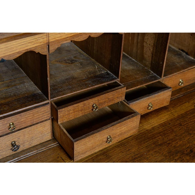 English Antique Mid 19th Century Oak Slant Front Desk For Sale - Image 3 of 10