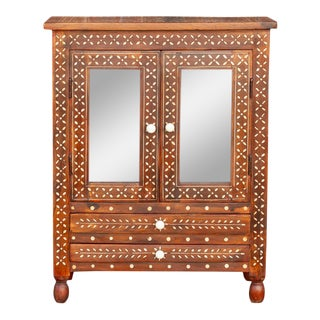 Vintage Colonial Bone Inlay Cabinet For Sale