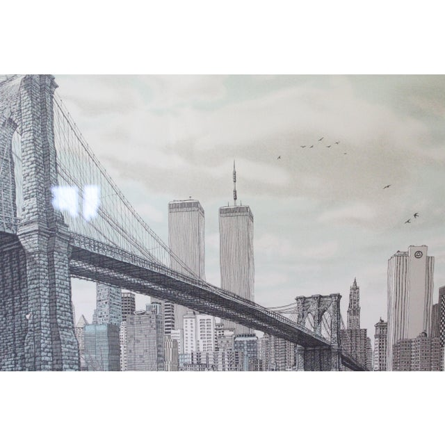 """""""Hail Brooklyn Bridge"""" Print of the Twin Towers For Sale In New York - Image 6 of 9"""