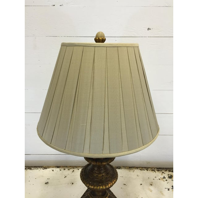 20th century French carved lamp with a fruit compote.