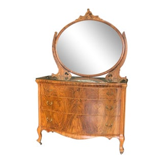Antique Walnut Dresser With Carved Pivot Mirror For Sale