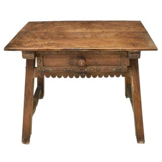 18th Century Rustic Spanish Colonial Low Work Table - Side Table For Sale