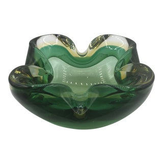 1960s Vintage Green & Yellow Murano Bowl For Sale