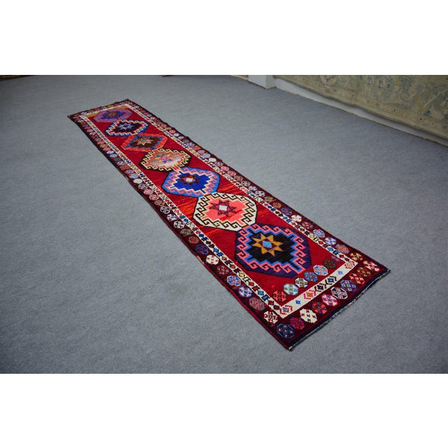 Textile Kurdish Colorful Hand-Knotted Wool Runner Rug For Sale - Image 7 of 9