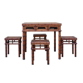 Chinese Brown Huali Rosewood Square Table Chair 5 Pieces Set For Sale