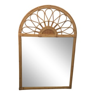 Vintage Bamboo Rattan Arched Wall Mirror For Sale