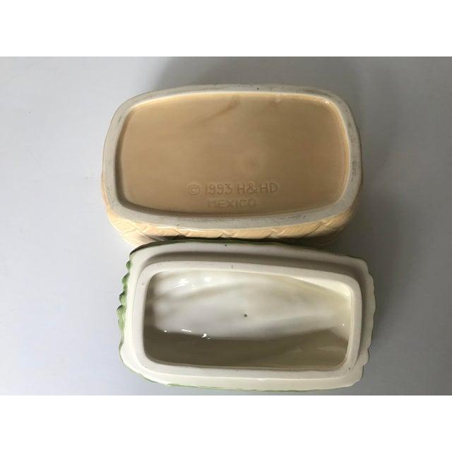Green Vintage Ceramic Basket With Asparagus Lid For Sale - Image 8 of 12