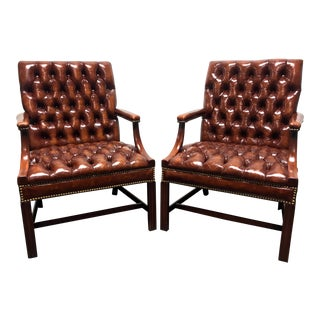 Hickory Chair Leather Tufted Banker Open Arm Chairs With Nailhead Trim For Sale