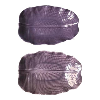 1970s Hollywood Regecy Lilac Ceramic Banana Leaf Platters - a Pair For Sale