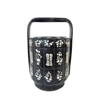 Antique Chinese Black Lacquer & Mother of Pearl Qing Dynasty Wedding Box Basket For Sale